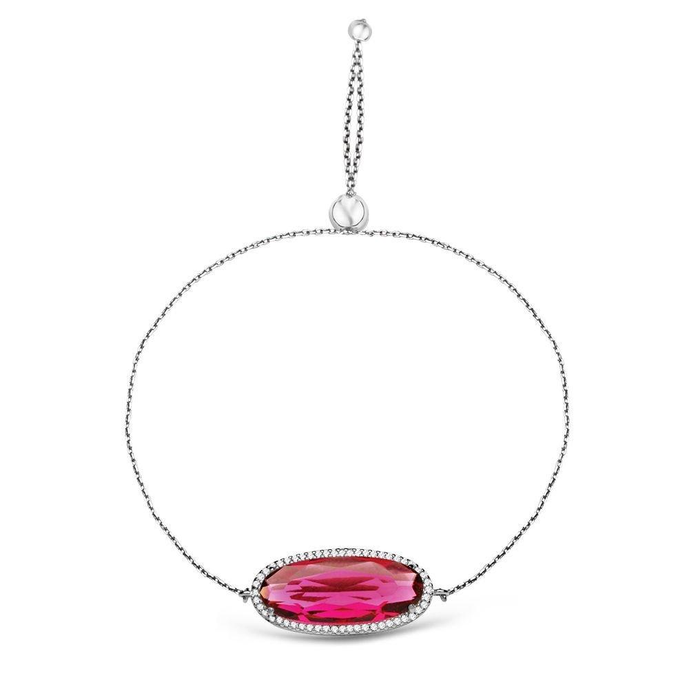 925 Ayar Gümüş Ayarlanabilen Hidro Kırmızı Renk Oval Model Taş Bileklik
