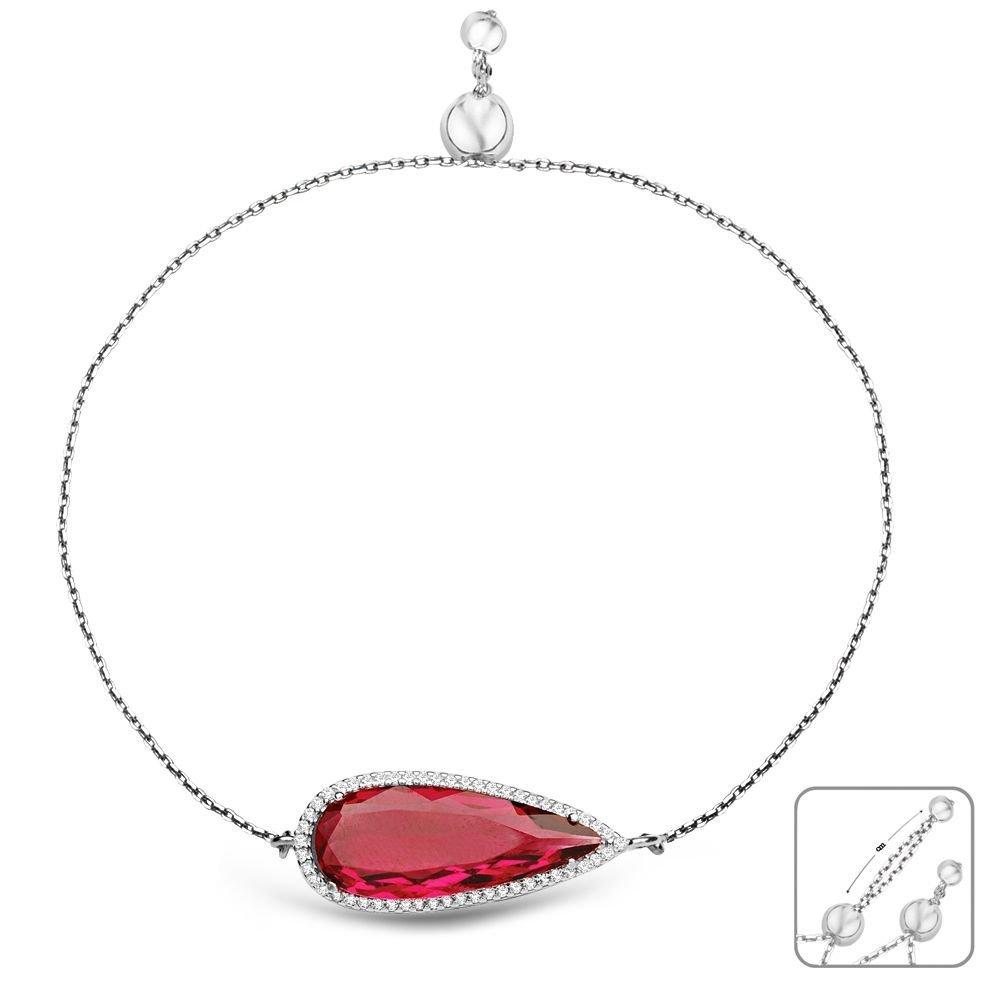925 Ayar Gümüş Ayarlanabilen Hidro Kırmızı Renk Taş Bileklik