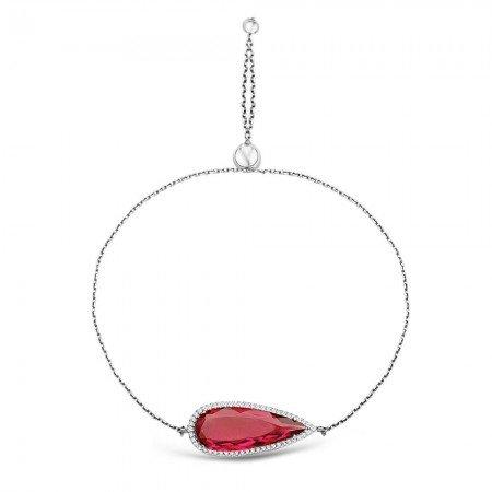 925 Ayar Gümüş Ayarlanabilen Hidro Kırmızı Renk Taş Bileklik - Thumbnail