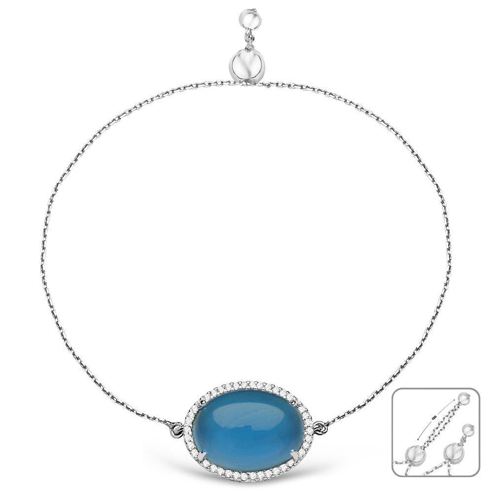 925 Ayar Gümüş Ayarlanabilen Hidro Mavi Taşlı Bileklik