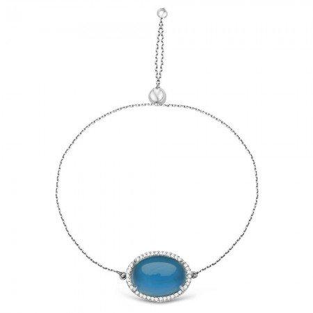 925 Ayar Gümüş Ayarlanabilen Hidro Mavi Taşlı Bileklik - Thumbnail