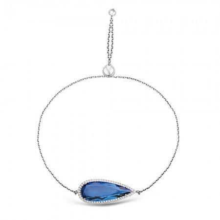 925 Ayar Gümüş Ayarlanabilen Hidro Safir Mavi Damla Model Taş Bileklik - Thumbnail