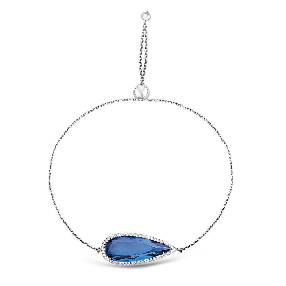 925 Ayar Gümüş Ayarlanabilen Hidro Safir Mavi Damla Model Taş Bileklik