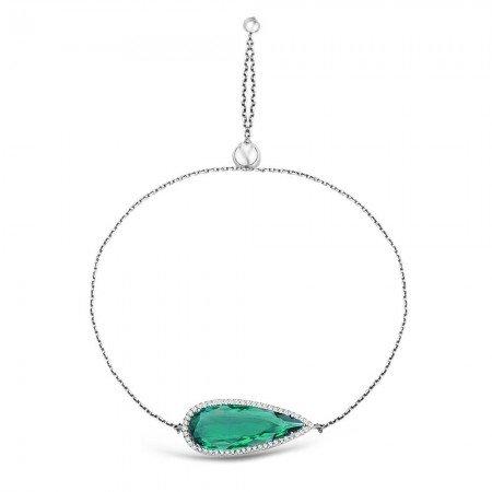925 Ayar Gümüş Ayarlanabilen Hidro Yeşil Damla Model Taş Bileklik - Thumbnail