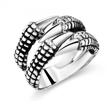 Ayarlanabilen Ölçülü Pençe Tasarım 925 Ayar Gümüş Erkek Yüzük - Thumbnail