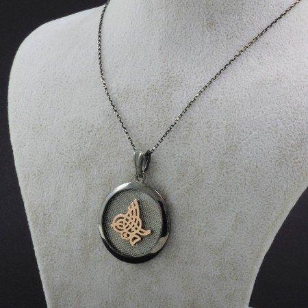 925 Ayar Gümüş Ayetel Kürsi Yazılı Çift Taraflı Bayan Kolye (Model-81) - Thumbnail