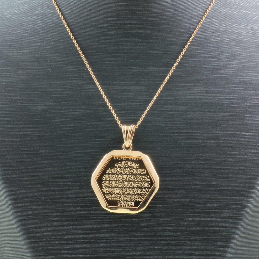 925 Ayar Gümüş Ayetel Kürsi Yazılı Çift Taraflı Bayan Kolye (Model-87)