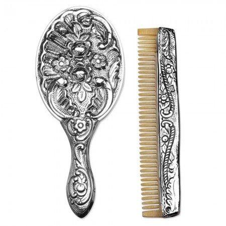 925 Ayar Gümüş Ayna ve Kemik Tarak Seti 2 - Thumbnail