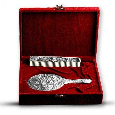 925 Ayar Gümüş Ayna ve Kemik Tarak Seti - Thumbnail