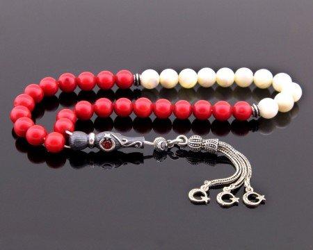 925 Ayar Gümüş Ayyıldız Püsküllü Küre Kesim Kırmızı Beyaz Mercan-Sedef Tesbih - Thumbnail