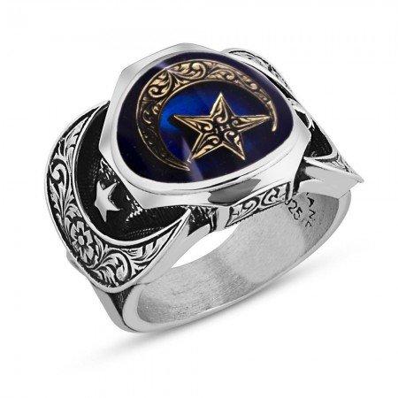 925 Ayar Gümüş Ayyıldız Model Mineli Yüzük - Thumbnail