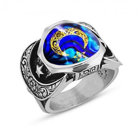 925 Ayar Gümüş Ayyıldız Model Sedefli Yüzük - Thumbnail