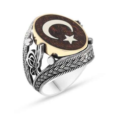 Ayyıldız Motifli 925 Ayar Gümüş Yüzük ve Yılan Ağacı Kolye Kombini - Thumbnail