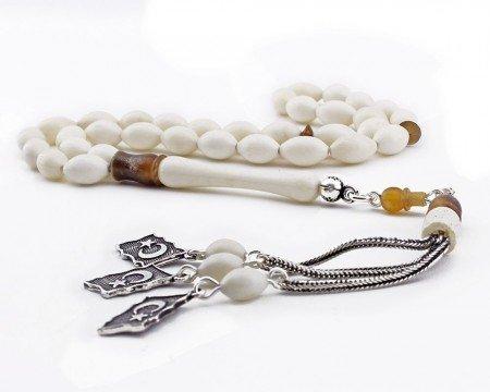 925 Ayar Gümüş Ayyıldız Püsküllü Arpa Kesim Deve Kemiği Tesbih - Thumbnail
