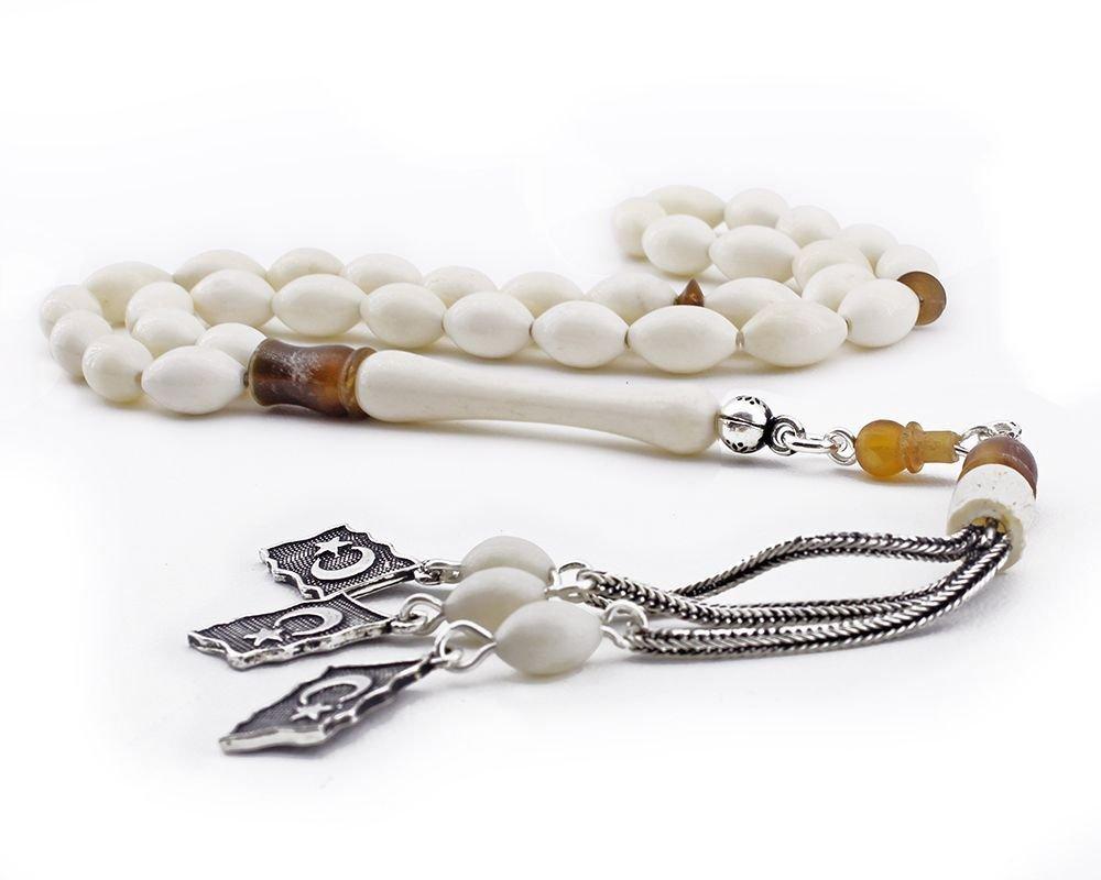 925 Ayar Gümüş Ayyıldız Püsküllü Arpa Kesim Deve Kemiği Tesbih