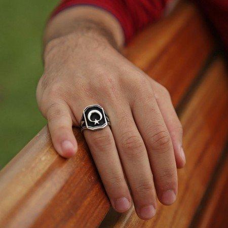 925 Ayar Gümüş Ayyıldız Yüzüğü - Thumbnail