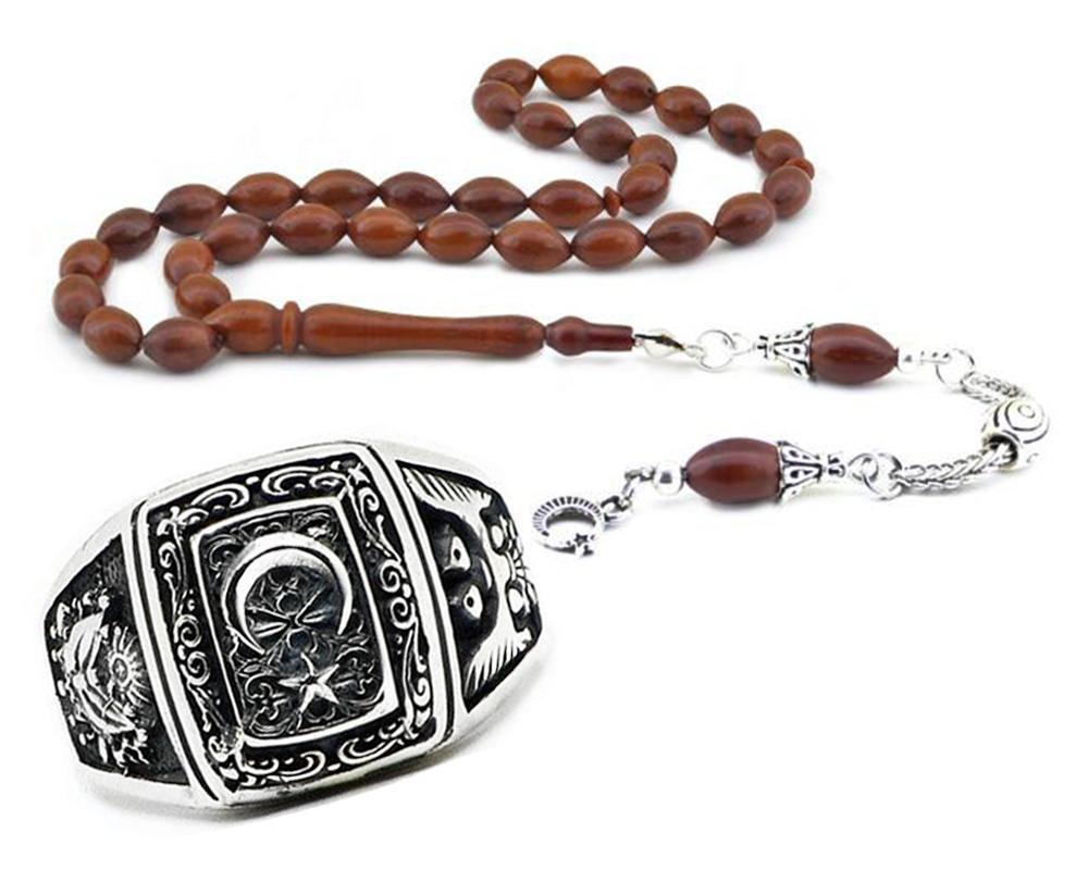 Ayyıldız Motifli 925 Ayar Gümüş Yüzük ve Kuka Tesbih Kombini