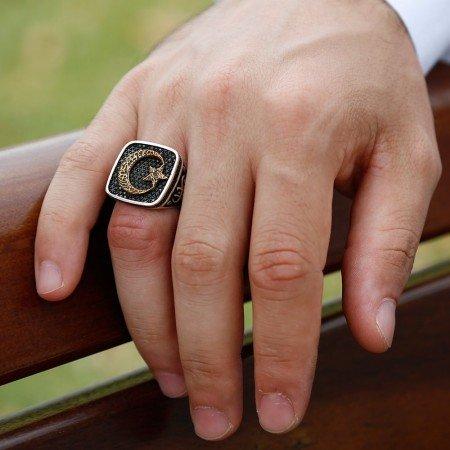 925 Ayar Gümüş Ayyıldızlı Vatan Millet Yüzüğü - Thumbnail