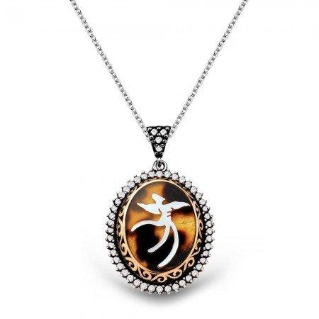 El İşçiliği Bağa-Sedef İşlemeli Semazen 925 Ayar Gümüş Bayan Kolye - Thumbnail