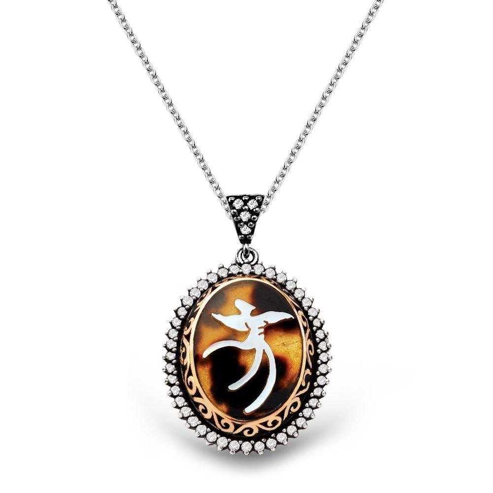 El İşçiliği Bağa-Sedef İşlemeli Semazen 925 Ayar Gümüş Bayan Kolye