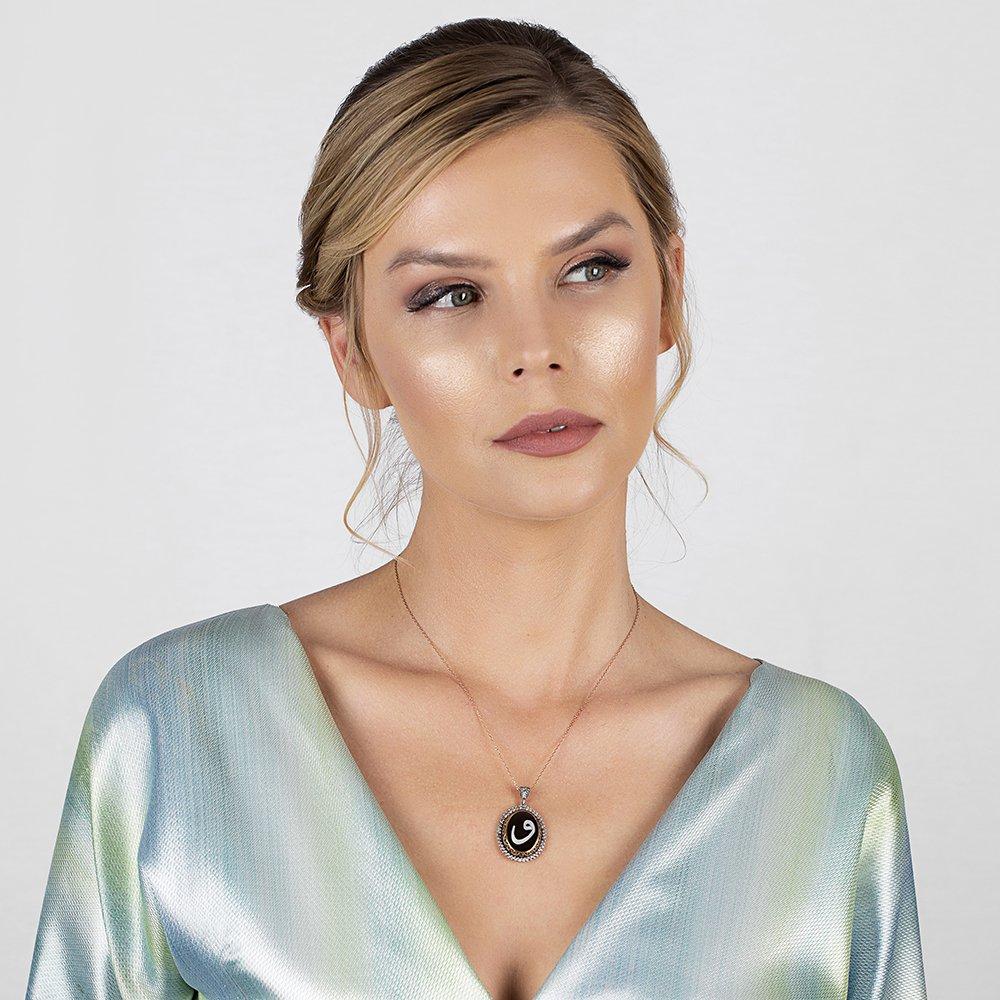 El İşçiliği Bağa-Sedef İşlemeli Vav Tasarım 925 Ayar Gümüş Bayan Kolye