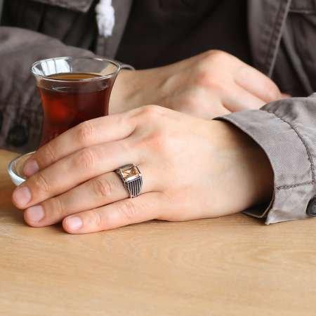Halat Desenli Bal Renk Zirkon Taşlı 925 Ayar Gümüş Erkek Yüzük - Thumbnail