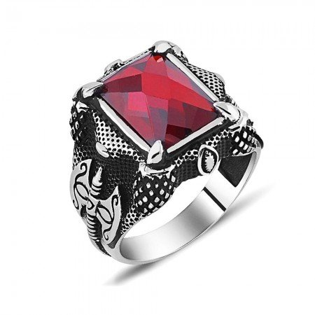 925 Ayar Gümüş Balta Tasarım Kırmızı Zirkon Taşlı Yüzük-2 - Thumbnail
