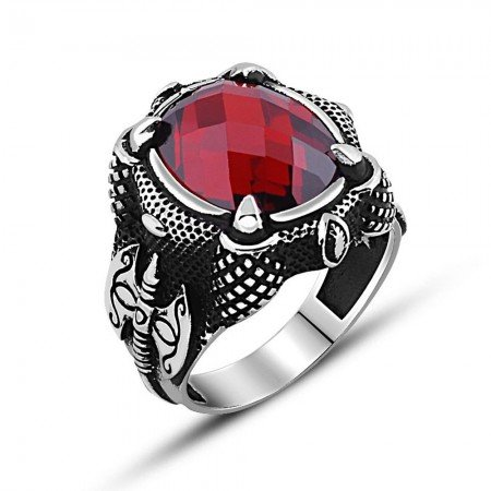 925 Ayar Gümüş Balta Tasarım Kırmızı Zirkon Taşlı Yüzük - Thumbnail