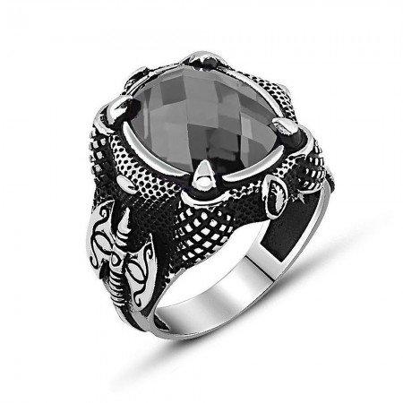 925 Ayar Gümüş Balta Tasarım Zirkon Taşlı Yüzük - Thumbnail