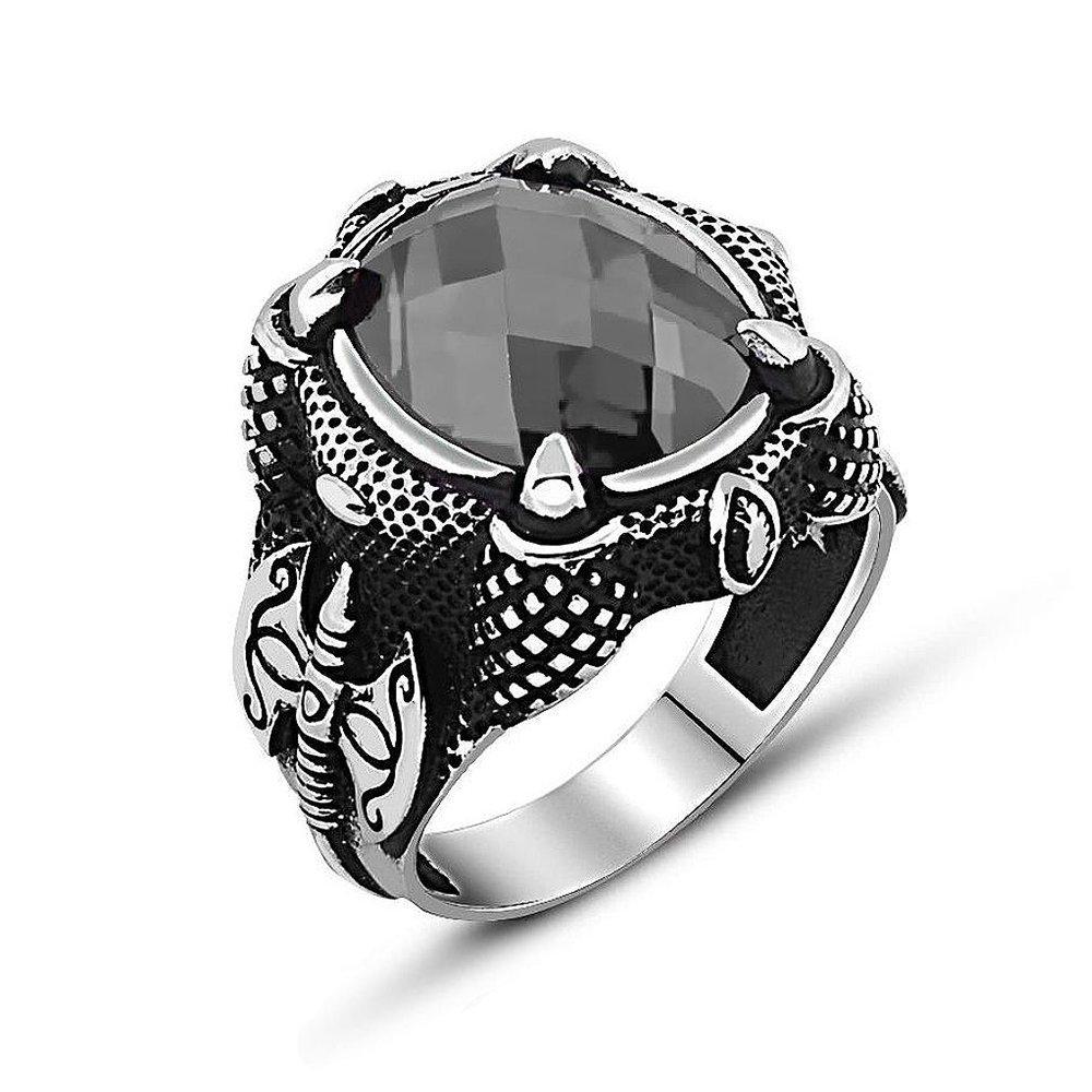 925 Ayar Gümüş Balta Tasarım Zirkon Taşlı Yüzük