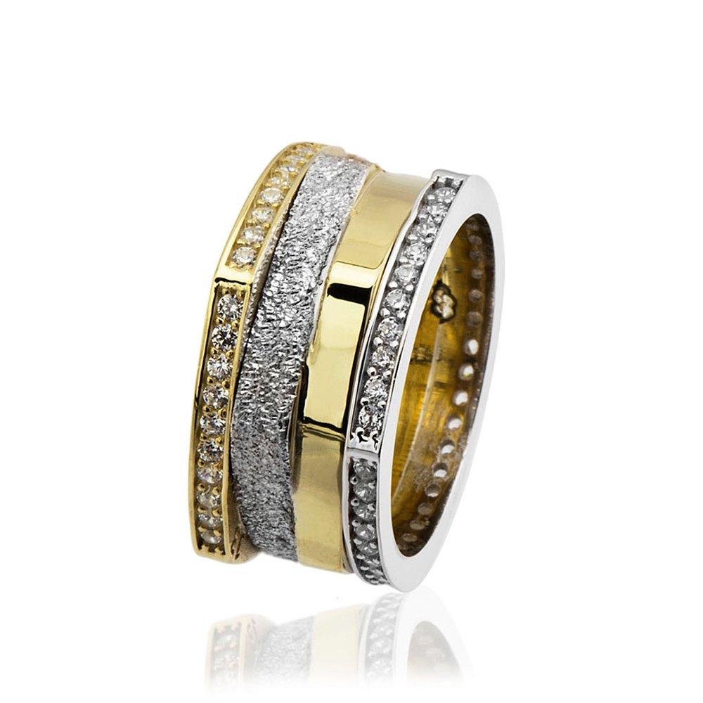 Köşeli Tasarım Zirkon Taş İşlemeli 925 Ayar Gümüş Bayan Alyans