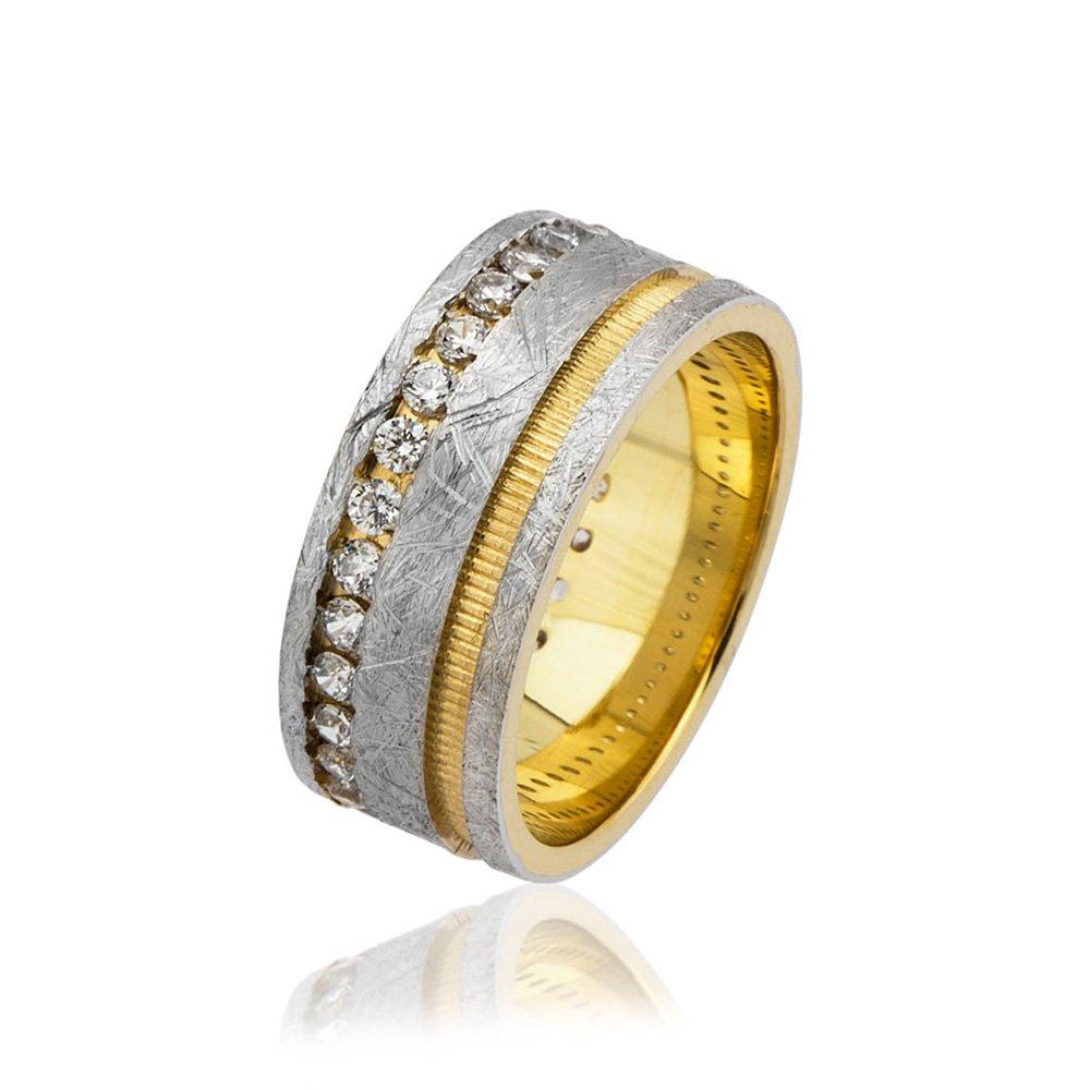 Çift Şerit Tasarım Zirkon Taş İşlemeli Gold-Gri Renk 925 Ayar Gümüş Bayan Alyans