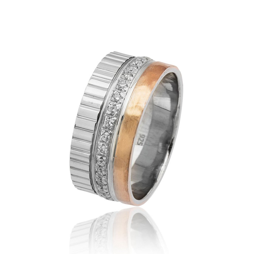 Üç Şerit Tasarım Zirkon Taşlı 925 Ayar Gümüş Bayan Alyans