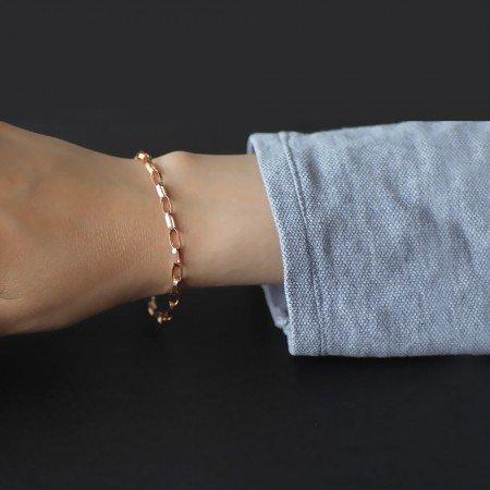 Sıralı Zincir Örgülü 925 Ayar Gümüş Bayan Bileklik - Thumbnail