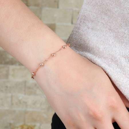 Toplu Zincirli 925 Ayar Gümüş Bayan Bileklik - Thumbnail
