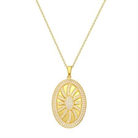 Beyaz Zirkon Taşlı Güneş Tasarım Oval 925 Ayar Gümüş Bayan Kolye - Thumbnail