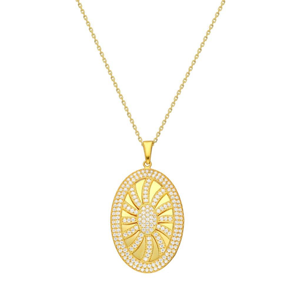 Beyaz Zirkon Taşlı Güneş Tasarım Oval 925 Ayar Gümüş Bayan Kolye
