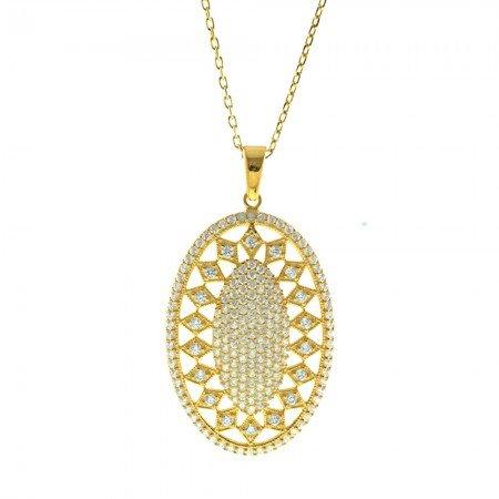 Beyaz Zirkon Taşlı Baklava Desen Oval 925 Ayar Gümüş Bayan Kolye - Thumbnail