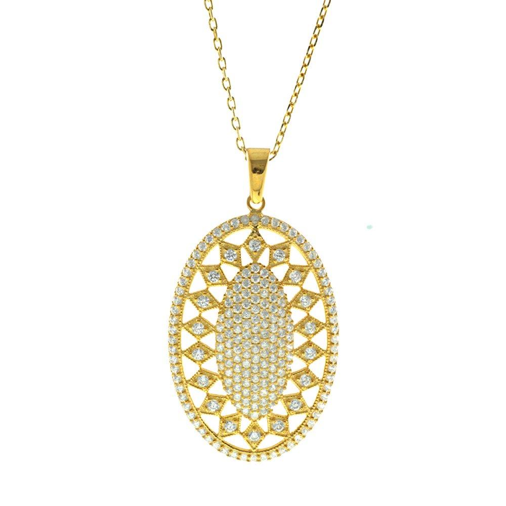 Beyaz Zirkon Taşlı Baklava Desen Oval 925 Ayar Gümüş Bayan Kolye
