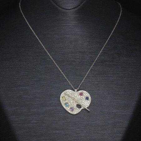 Renkli Zirkon Taşlı Palet Tasarım 925 Ayar Gümüş Bayan Kolye - Thumbnail