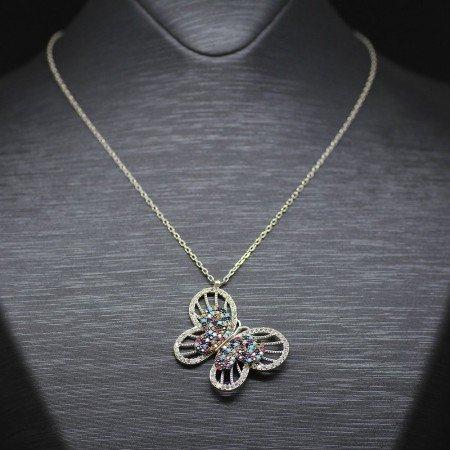 Karışık Renk Zirkon Taşlı Kelebek Tasarım 925 Ayar Gümüş Bayan Kolye - Thumbnail