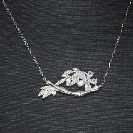 Beyaz Zirkon Taşlı Çiçek-Yaprak Tasarım 925 Ayar Gümüş Bayan Kolye - Thumbnail