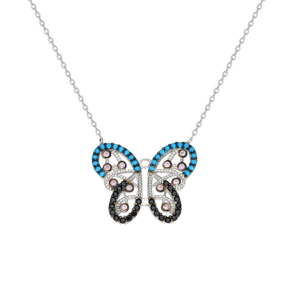 Mavi-Siyah Zirkon Taşlı Kelebek Tasarım 925 Ayar Gümüş Bayan Kolye