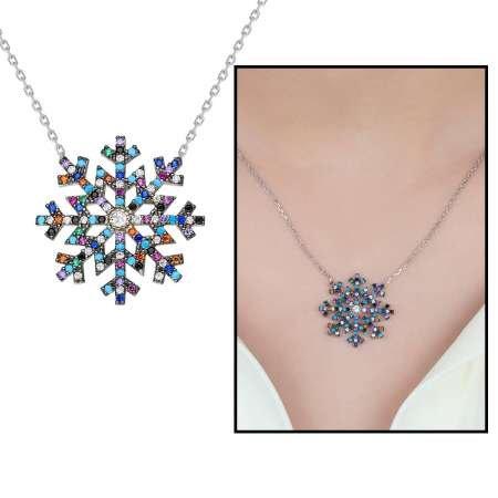 Renkli Zirkon Taşlı Kar Tanesi Tasarım 925 Ayar Gümüş Bayan Kolye - Thumbnail