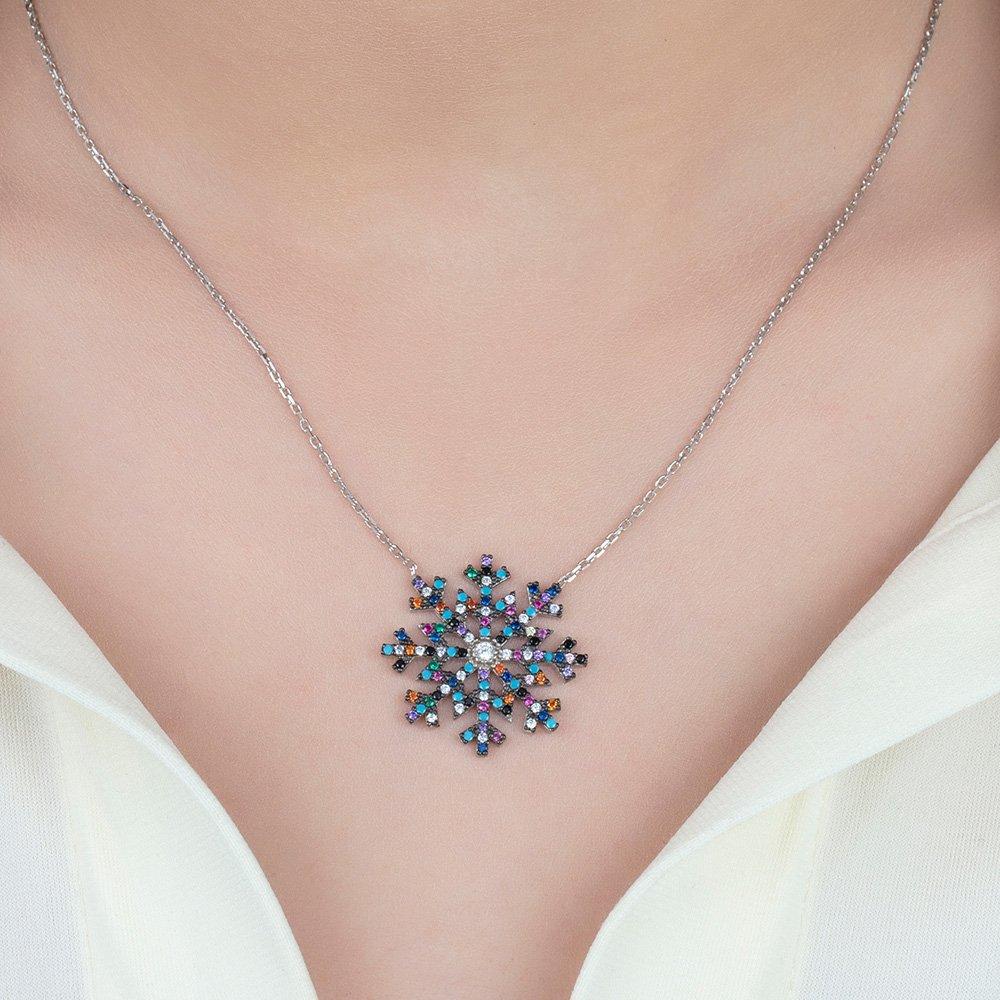 Renkli Zirkon Taşlı Kar Tanesi Tasarım 925 Ayar Gümüş Bayan Kolye