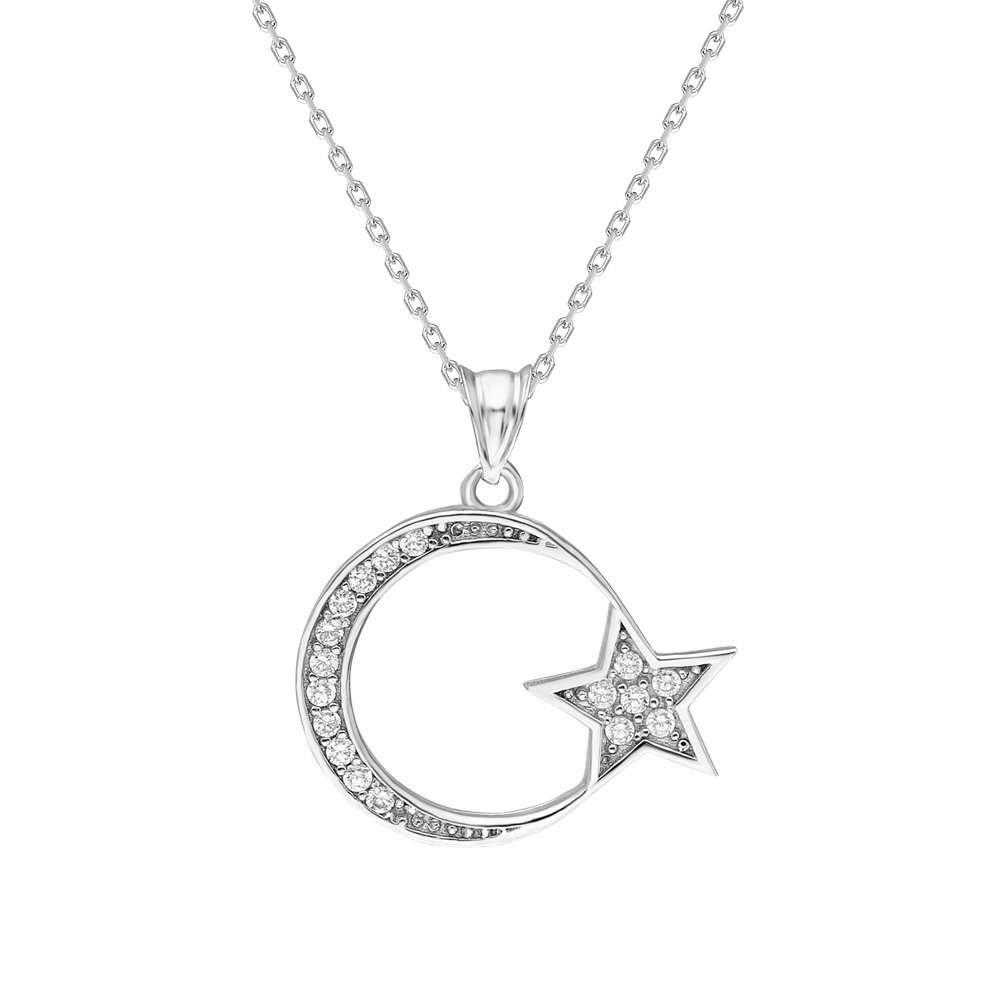 Beyaz Zirkon Taşlı Ayyıldız 925 Ayar Gümüş Bayan Kolye