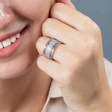 925 Ayar Gümüş Beyaz Zirkon Taşlı Labirent Tasarım Bayan Yüzük - Thumbnail