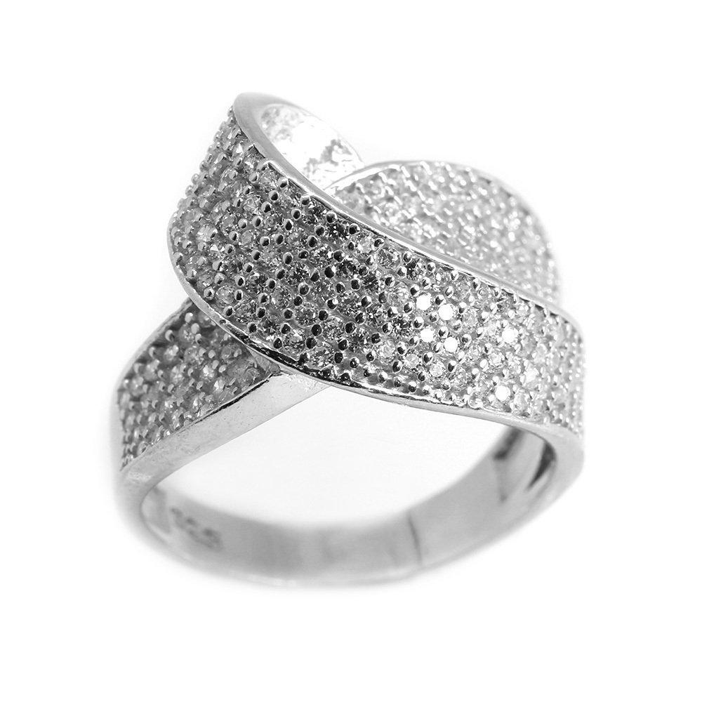 925 Ayar Gümüş Zirkon Taş İşlemeli Asimetrik Tasarım Bayan Yüzük