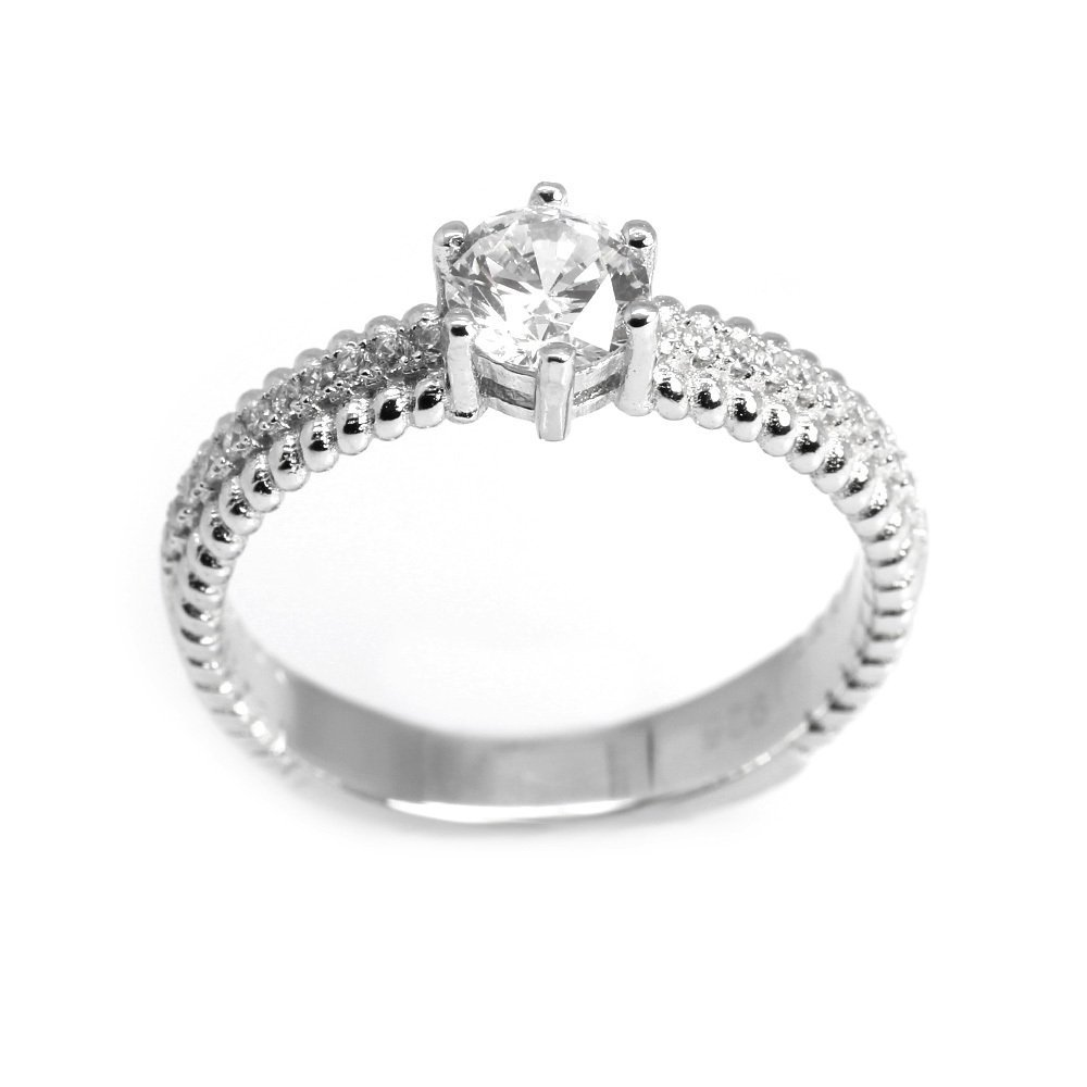 925 Ayar Gümüş Zirkon Taşlı Spiral Tasarım Bayan Yüzük