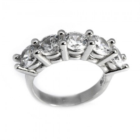 925 Ayar Gümüş Zirkon Taşlı Klasik Beştaş Yüzük - Thumbnail